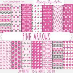 Digital Paper Printable Backgrounds Pattern Design — Pink Tribal Arrow Patterns by Honey Clip Art