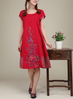 Red linen dress original dress Folk style by originalstyleshop, $75.00