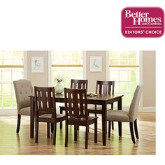Better Homes and Gardens 7-Piece Dining Set, Mocha/Beige
