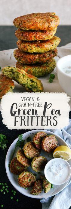 Dairy free – Gluten free – Grain free -Vegan – Vegetarian – Baked Green Pea Fritters (Vegan + GF) Source by cdrlmr Vegan Foods, Vegan Dishes, Vegan Vegetarian, Vegetarian Recipes, Healthy Recipes, Paleo, Free Recipes, Diet Foods, Vegan Burger Recipes
