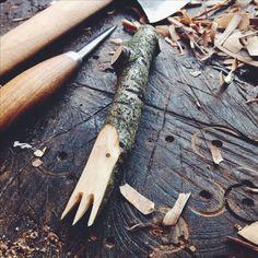Hand carved fork