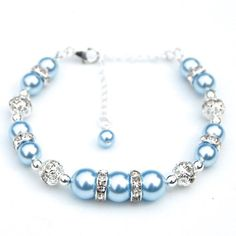 Items similar to Something Blue Pearl Bracelet Light Blue Bridesmaid Jewelry on Etsy - Bridesmaid Jewelry Pale Blue Bracelet Baby Blue by AMIdesigns - Pearl Bridesmaid Jewelry, Bridesmaid Accessories, Bridesmaid Bracelet, Wedding Jewelry, Bracelets Bleus, Jewelry Bracelets, Jewelery, Pearl Bracelets, Pearl Necklaces
