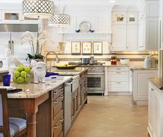 ralph lauren kitchen pendant | Spacious Blue and White Showhouse Kitchen Remodel