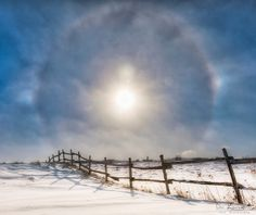Sun dogs in the winter sky