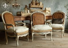 Pair of Large French Louis XV style Armchairs in Original aged white finish with blue highlights.