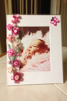 Quilled frame pink by Ginny Huff