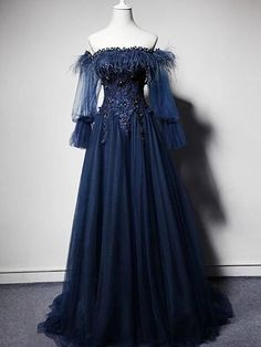 Dark blue off shoulder tulle long prom dress, blue evening dress Navy Prom Dresses, Blue Evening Dresses, Prom Dresses With Sleeves, Elegant Dresses, Pretty Dresses, Beautiful Dresses, Sexy Dresses, Summer Dresses, Dress Prom