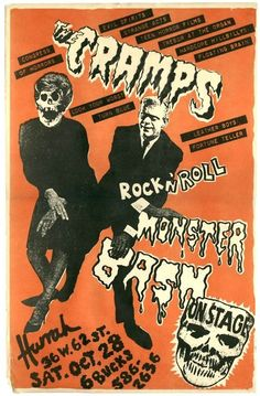 The Cramps - Rock'n Roll Monster Bash. Rock Posters, Band Posters, Concert Posters, Gig Poster, Festival Posters, Rock Indie, Concert Rock, The Cramps, Into The Fire
