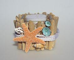 Seashell Candle Holder Driftwood Candle by GoneCoastalDesigns, $20.00