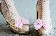 Pretty Sparkle Pink Bow Shoe Clips