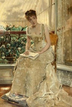 Detail of an Alfred Stevens (Belgian: 11 May 1823-24 Aug 1906) painting. Born in Brussels, Stevens came from a family involved with the visual arts: his older brother Joseph (1816–1892) and his son Léopold (1866–1935) were painters, while another brother Arthur (1825–99) was an art dealer and critic. His father, who had fought in the Napoleonic wars in the army of William I of the Netherlands, was an art collector.: