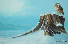 bosuil op stronk schilderij. Tawny owl oil painting 3046©