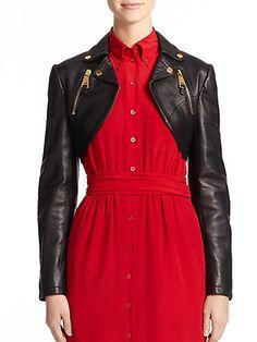 dress jacket top // Steampunk Leather Moto Bolero $1,021.16 AT vintagedancer.com