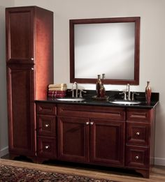 Double sink vanity with tall cabinet