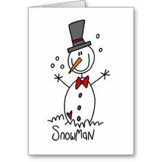 Snowman Stick Figure Card