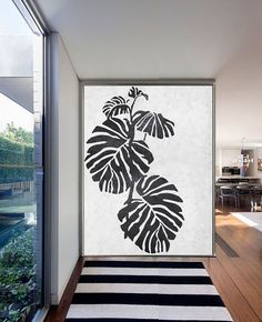 Large Abstract Painting On Canvas, Minimalist Canvas Art, Handmade Black White Leaves, Acrylic Textured Painting.