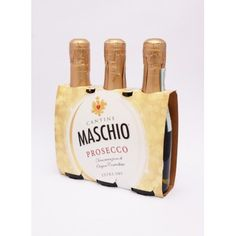 PROSECCO DOC EXTRA DRY. TRES BOTELLAS. 200 CC c/u. CANTINE Prosecco Doc, Queso, Packing, Coffee, Drinks, Food, Bottles, Canteen, Bag Packaging