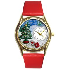 Women's Whimsical Watches Christmas Tree Watch Small (150 ILS) ❤ liked on Polyvore featuring jewelry, watches, gold, jewelry & watches, women's watches, gold watches, gold jewelry, gold jewellery, christmas tree jewelry and whimsical watches