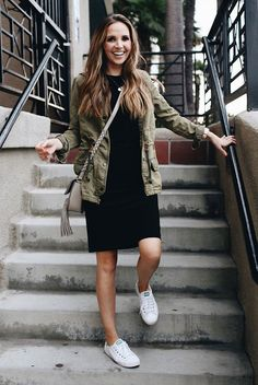 spring outfit, fall outfit, casual outfit, relaxed outfit, game day outfit, athleisure outfit, comfy outfit, sneakers outfit, fall layers, street style, fall trends 2016 - military jacket, black t-shirt dress, white sneakers, grey tassel shoulder bag