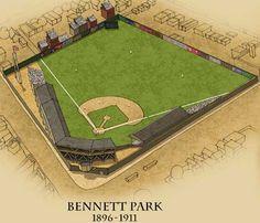Bennett Park, before Navin Field, Briggs, stadium, Tigers Stadium Baseball Park, Detroit Tigers Baseball, Sports Baseball, Baseball Field, Football, Tiger Stadium, Sports Stadium, Wiffle Ball, Mlb Stadiums