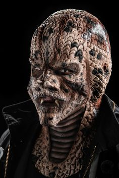 """Serpent Soldiers""- close up of Damien's creation, inspired by the Gaboon Viper. Face Off Makeup, Makeup Fx, Movie Makeup, Scary Makeup, Maquillage Face Off, Fantasy Makeup, Fantasy Art, Dark Fantasy, Gaboon Viper"