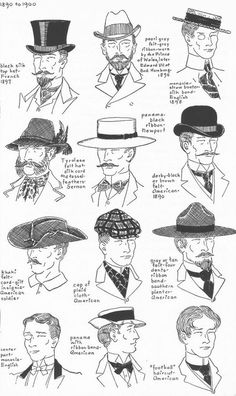 Men's Hat Fashions 1890s