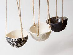 Black and White Pottery Planter Ceramic Planter Hanging Planter ~ Monochrome Ceramics Handmade Plant Pots ~ Modern Planter Hanging Plant Pot by CatsCeramics on Etsy https://www.etsy.com/listing/503194566/black-and-white-pottery-planter-ceramic