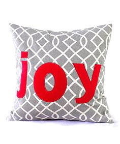 """MAKE this pillow easily...use """"rustic"""" type/print of material to go with our place.    Red 'Joy' Linen-Blend Pillow #zulily #zulilyfinds"""