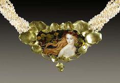 """Nasturtium"" Enamel,18k, 24pts diams, Pearls by Larissa Enamels"