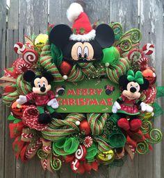 Christmas Wreath Disney Christmas Wreath Mickey & by BaBamWreaths Más