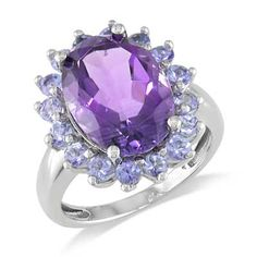 "$99 ""Oval Amethyst and Tanzanite Ring in Sterling Silver"""