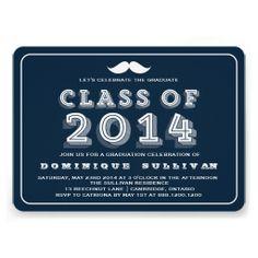 Retro Mustache | Navy Graduation Party Invitation
