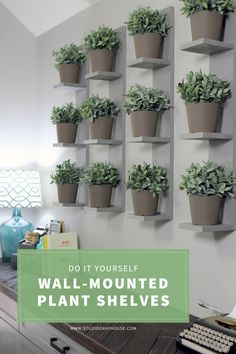 Build these SUPER SIMPLE wall-mounted plant shelves to display real or faux plants and create a plant wall. This weekend DIY project requires minimal supplies and makes a huge impact on any room.