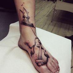 3d Anker Fuß Tattoo von Bubblegum Art