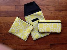 Yellow Links Diaper Pouch/ Wipes case/ Wet bag Set