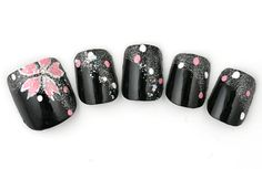 Black with pink flower