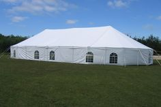30x50 oval pole tent. So different but so cute. We love this tent for about 150 guests.