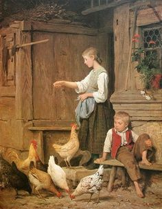 Mädchen Hühner fütternd, or Jeune fille nourrissant les poules (Young Girl Feeding the Chickens) Albert Anker, 1865 Dimensions: Art Amour, Art Ancien, Chicken Art, Chicken Painting, Chickens And Roosters, Illustration, Art Database, Fine Art, Beautiful Paintings