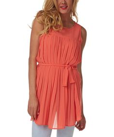 Love this Coral Pleated Sleeveless Dress by Pinkblush on #zulily! #zulilyfinds