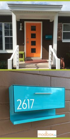 "Jill: ""My modbox went up last week and here she is.so pretty and everyone is loving it!"" The house was built in Loving the orange door with Rejuvenation door knob escutcheon and light from Practical Props! Mid Century Modern Door, Mid Century Exterior, Mid Century Decor, Mid Century House, Mid Century Modern Design, Midcentury Modern Front Door, Orange Front Doors, Orange Door, Modern Exterior Doors"