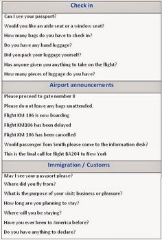 Here you have list of useful expressions to use at an airport.