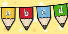 Bunting is absolutely perfect for filling those blank spaces between display boards, or for hanging in windows. Simply cut, fold and stick each flag onto a length of string or ribbon and you're ready to go! This set features 26 flags, with a different letter on a coloured pencil illustration on each one.