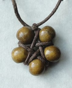 Wooden bead Bracelet with Pentagram in Olive by SolitaireDesigns, $6.00