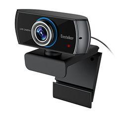 Webcam 1536P Full HD, Besteker 1080P Caméra Web USB Plug and Play avec Microphones Anti-bruit Intégrés Grand Angle pour Appel Vidéo et…