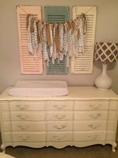 Shabby chic. French provincial. Fabric strip banner. Old wood shutters. Distressed. Chalk paint. Old white. Duck egg.