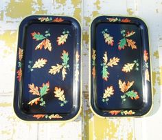 Vintage Pair of Tin Serving Trays Fall Oak by alsredesignvintage, $11.00