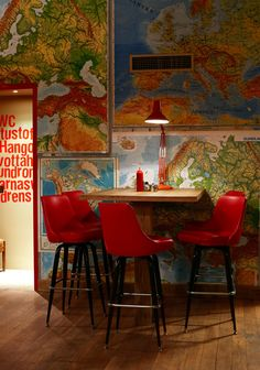 MAP WALL. Enough said.   The Laundromat Cafe in Reykjavík, Iceland. (Use the arrow key to rotate through the images from this photo set.)