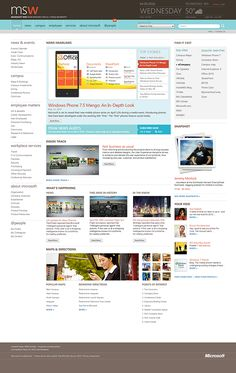Vast content designed on a planner type grid with simple colour coding on a fairly lucid colour palette. Web Design, Site Design, Graphic Design, Web Layout, Layout Design, Design Ideas, Sharepoint Intranet, Microsoft, Intranet Design
