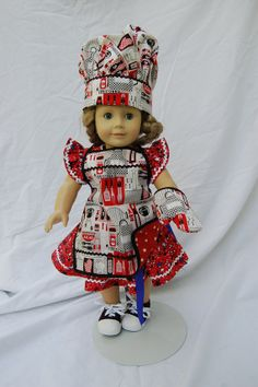 Three piece doll apron hat and mitt set  by BettyJeansCreations, $24.00