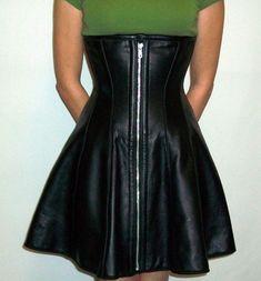 Black leather corset dress $600